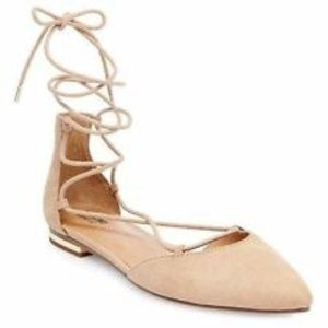 Mossimo Beige Pointed Lace Up Ballet Flats Size 11